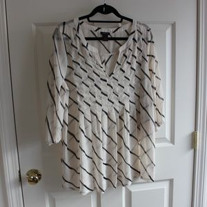 Ann Taylor sheer off white and black stripe blouse